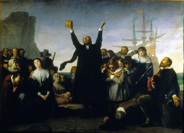 11_desembarco_de_los_puritanos_en_america - Antonio Gisbert Perez , pintor Alicantino nacido en Alcoy, este cuadro está en el Senado de España.