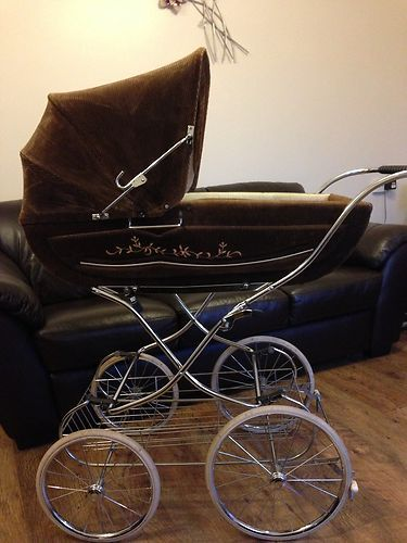 Beautiful vintage brown cord gesslein pram |