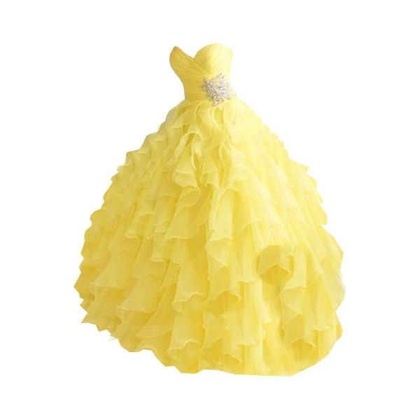 Editado por dehti ❤ liked on Polyvore featuring dresses, gowns, ball gowns, long dresses, belle, yellow evening gown, long yellow dress, yellow evening dress and yellow gown