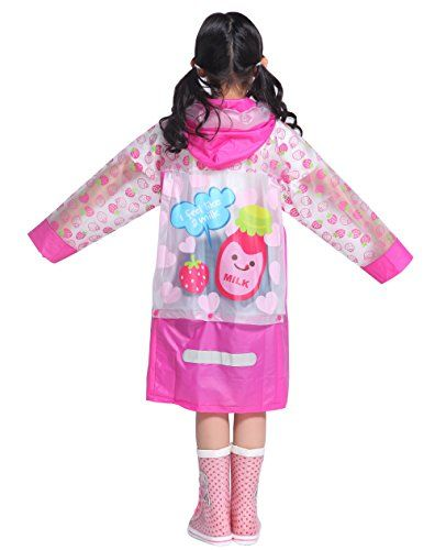 Aircee (TM) Kids Teens Jacket Rain Poncho Raincoat Hooded School Bag Cover Rainwear (M (Fit 3'7''3'11'' Height) Pink)