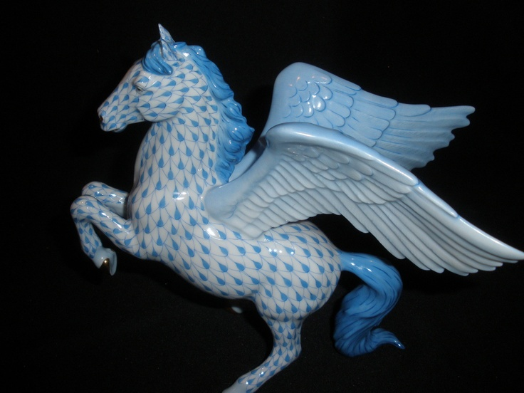 Herend Large Pegasus Winged Horse Figurine Blue Fishnet ...
