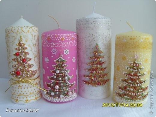 Декор предметов Аппликация, Роспись: Рождественские свечи Бисер, Бусинки, Клей Рождество. Фото 1