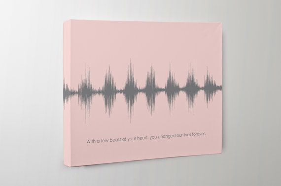 This one of a kind, custom sound wave art will remind you of the joy you felt the moment you first heard your babys heartbeat in utero. With just a few beats of the heart, your life changed forever. We take your recording of your babys heartbeat sound or an image of the ultrasound printout and turn it into a meaningful piece of nursery art.  Your babys first heartbeats mark the beginning of a new life full of hopes and possibilities. This sound wave art is a unique keepsake that captures the…