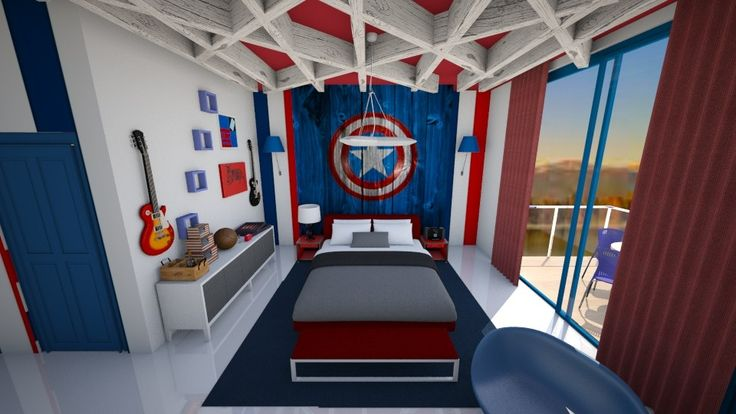 Captain America by mjhernale. A design bedroom with products like the HP Pavilion Laptop, DV6-1140EA, 2GHz with 15.6 Inch Display, MS Office Home & Student & Norton 360, Absinthe Case SQ, White and a Snow Cabinet