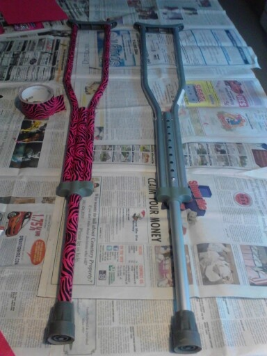 Before and almost after crutches,  for my moms broken ankle. Decorated crutches, with duct tape.