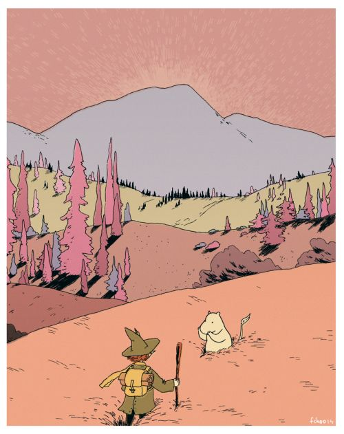 choodraws: snufkin and moomintroll in the valley