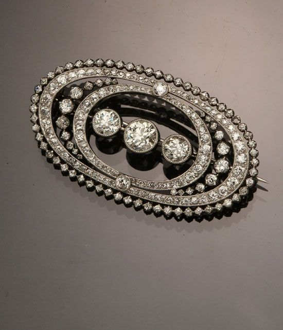 Edwardian Tested Platinum and Diamond Brooch  Circa 1910