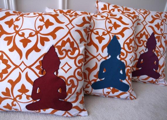 Bold modern orange damask print pillow cover by stitchandspoke, $28.00