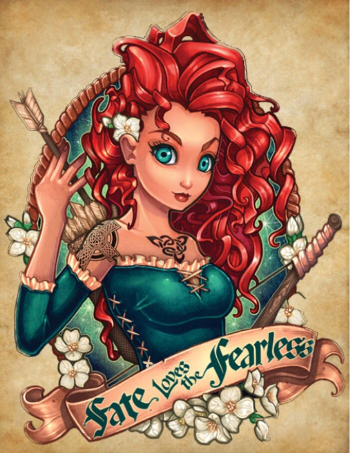 Merida drawn by Tim Shumate. He put her on a green background all his other princesses are on tan so I had to have this one on there as well