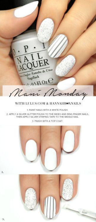 Mani: Silver and White Glitter Nail Tutorial