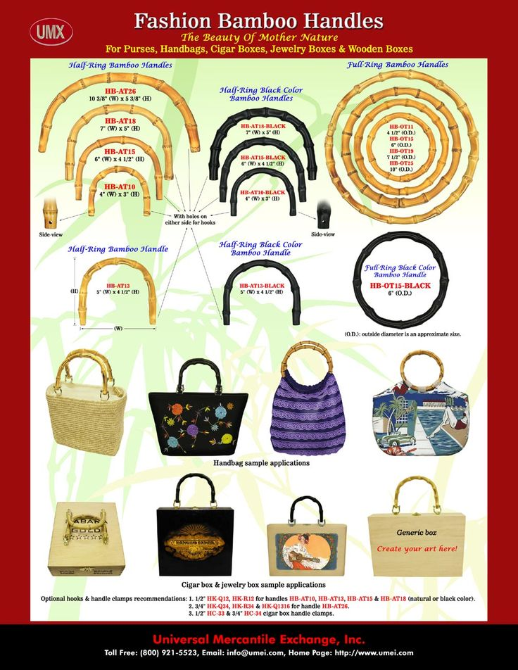 Guide to different styles of bamboo handles. I've always thought a bamboo handle purse would be a great DIY project.