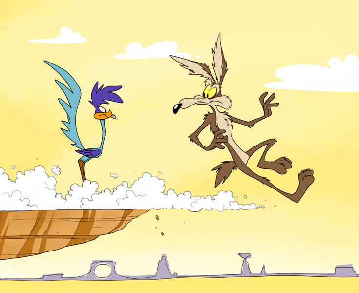 """Wile E. Coyote and Road Runner from """"Looney Tunes"""", 1930-"""