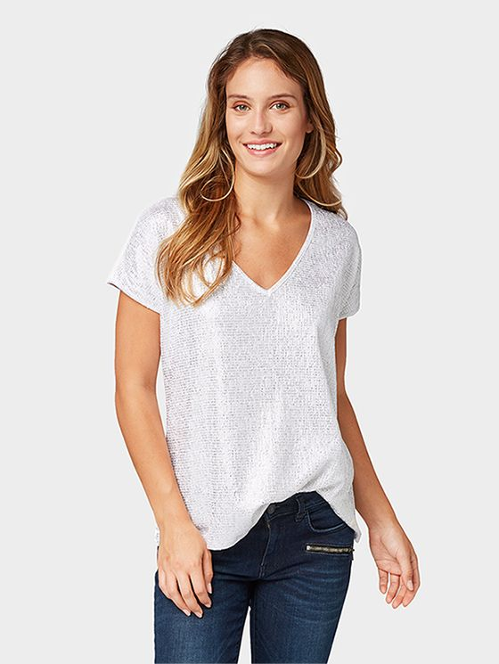 Patterned T shirt with crinkles Women whisper white