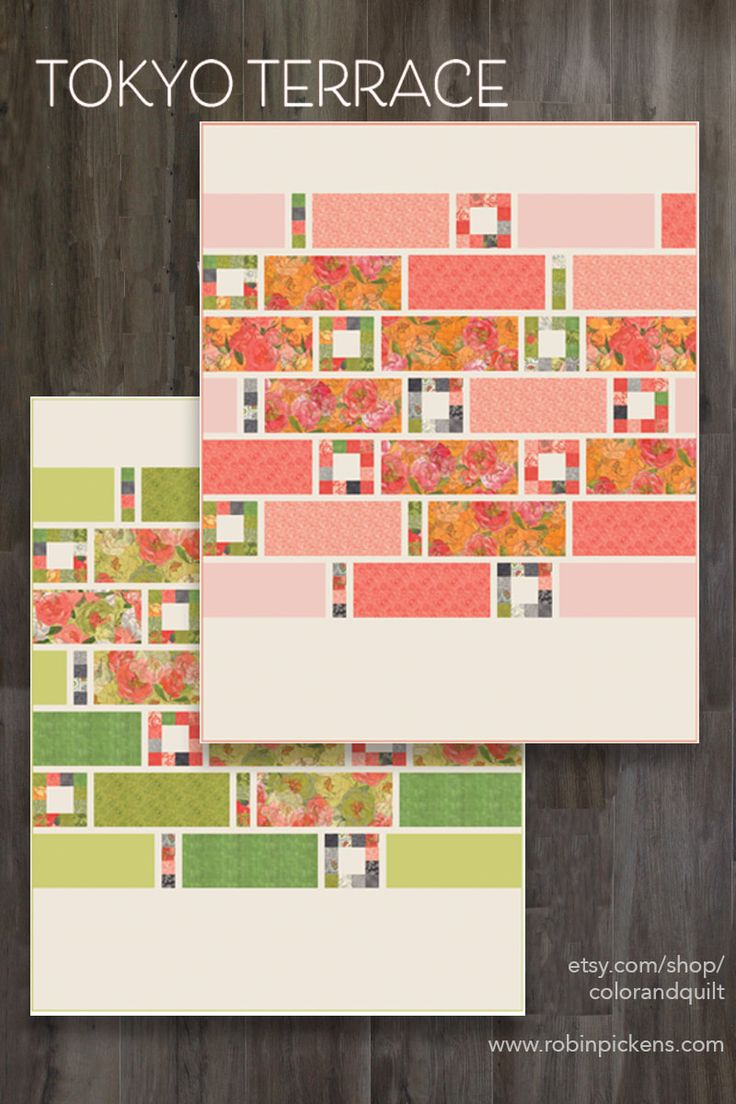 Tokyo Terrace Quilt Patterns using Blushing Peonies by Robin Pickens for Moda Fabrics. Pattern available at www.etsy.com/shops/colorandquilt