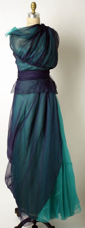 Blue and Green Layered Chiffon Evening Dress by Mad Carpentier (Mad Maltezos and Suzie Carpentier), 1940