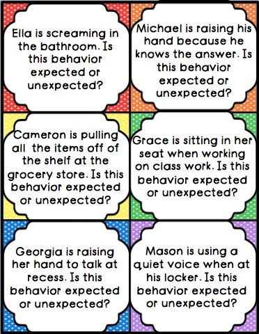 Task cards and an activity to help students learn expected and unexpected behaviors. Great for teaching social skills or the Zones of Regulation!