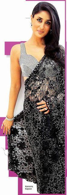 Gorgeous+Kareena+Kapoor+in+Black+Saree+Grey+Blouse,+Bollywood+Saree+Collection_IndianRamp.com