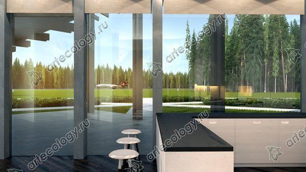 Вид из кухни на взлетную полосу