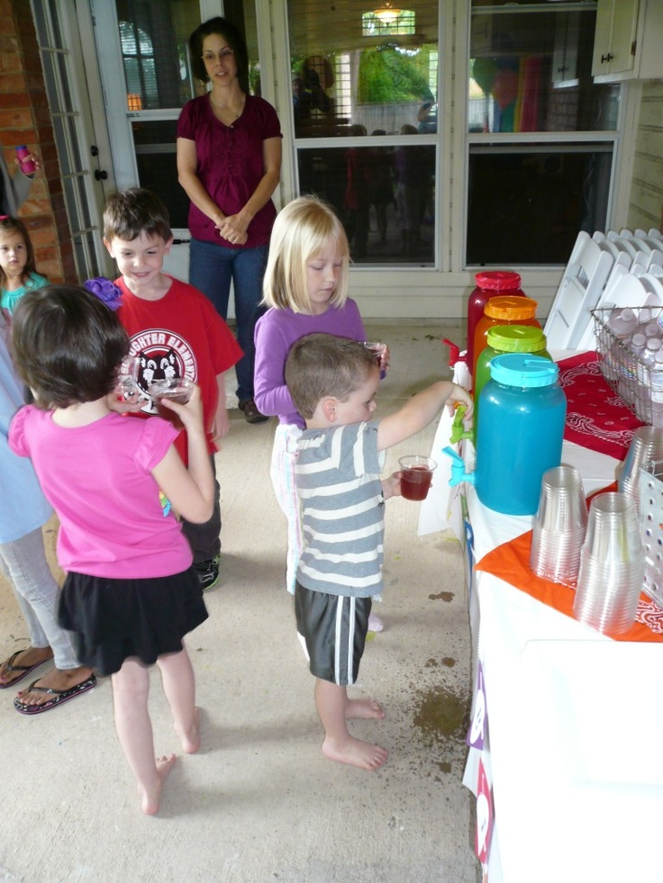 """Rainbow drink station - """"They had the most fun mixing the different colored juices to come up with their own weird concoction!"""""""