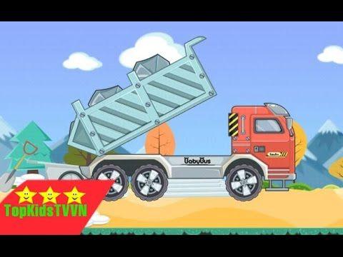 Topkidstvvn-Xe ô tô tải hoạt hình vận chuyển đá,gỗ-Dump truck game