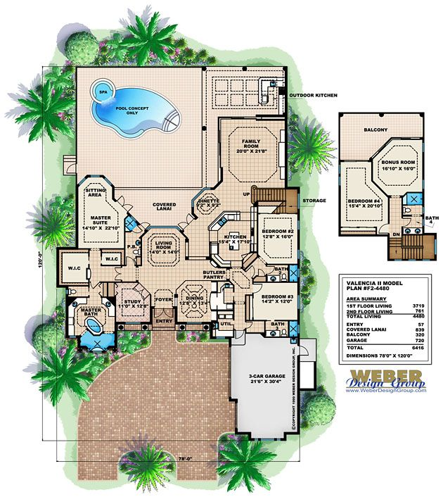 valencia ii floor plan weber design group - Large House Plans