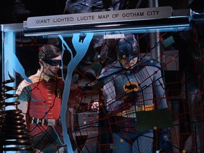 A COLLECTION OF BAT-LABELS — GIANT LIGHTED LUCITE MAP OF GOTHAM CITY
