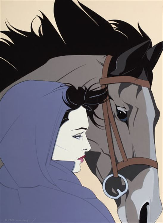 "Patrick Nagel - ""Woman with a horse"""