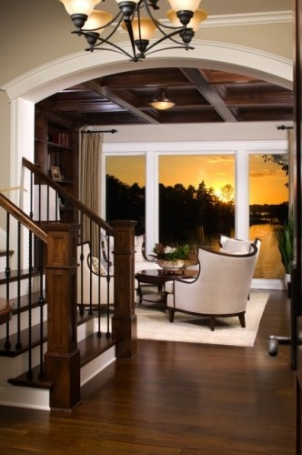 Family Rooms: Living Rooms, Stairs, Floors, Chairs, The View, Ceilings, Families Rooms Design, Dark Woods, Traditional Families Rooms