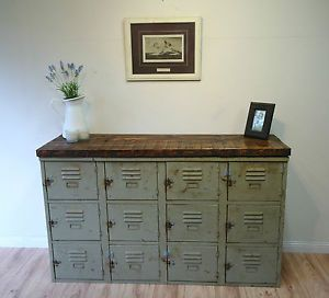 Old school lockers.  Love this look.  This would make a beautiful rustic buffet cabinet or entryway cabinet.