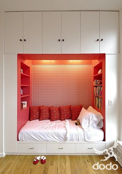 cozy. I love the coral interior against the white.