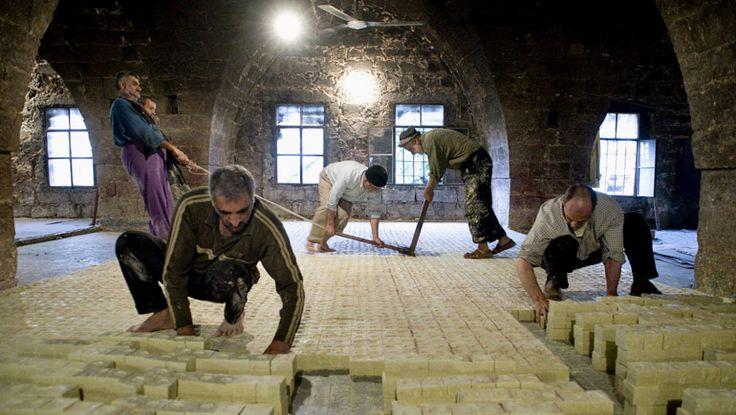Proceso de corte de los jabones tradicionales de Alepo en Siria