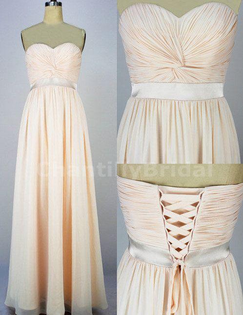 A-line Sweetheart-neck Floor-length Chiffon Prom Dress,Formal Dress Champagne Br
