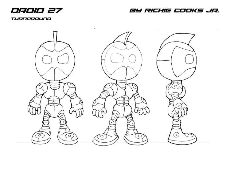 Basic Anime Character Design : Portfolio work demo reel droid character turnaround