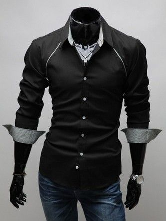 Black slim fit dress shirt with grey detail.