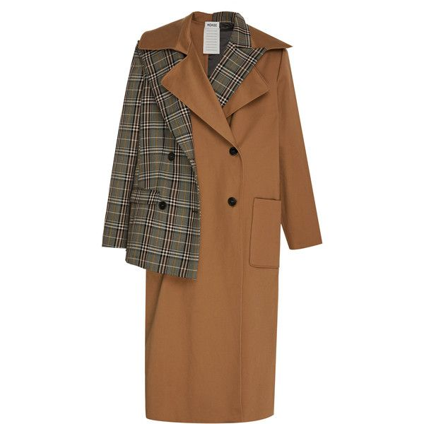 Half & Half Trench | Moda Operandi (12,835 MYR) ❤ liked on Polyvore featuring outerwear, coats, brown trench coat, double breasted coat, plaid coat, tartan coats and brown double breasted coat