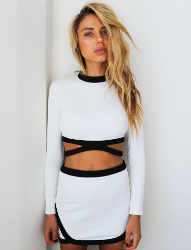 Talulah Lace Bell Sleeve Dress - white & black cutout set