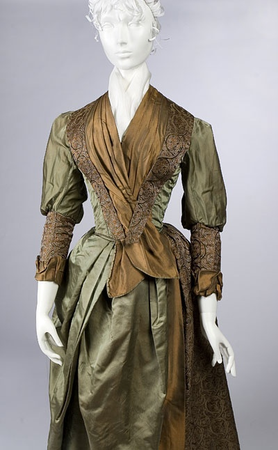 Emma Johnson Forbes wore this  made over olive-green satin gown on her wedding day in October 1888. Emma's mother had worn the gown on her wedding day exactly 38 years earlier.
