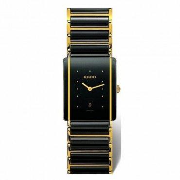 Ανδρικό ελβετικό quartz ρολόι RADO Integral με μαύρο κεραμικό-επίχρυσο μπρασελέ & μαύρο καντράν | Ρολόγια RADO Κοσμηματοπωλείο ΤΣΑΛΔΑΡΗΣ στο Χαλάνδρι #Rado #integral #κεραμικο #μπρασελε #ρολοι