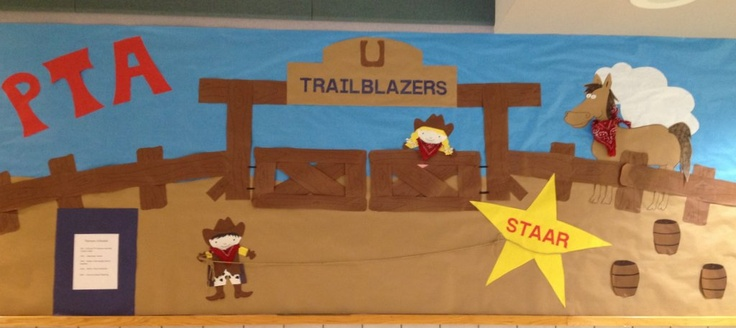 Western, Rodeo Cowboy theme PTA bulletin board idea - maybe ROUNDING UP READERS