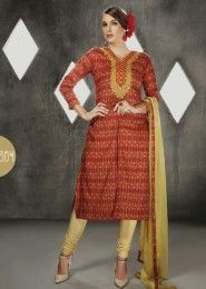 Casual Wear Cotton Red Printed Churidar Suit