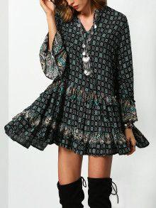 Kleid mit Folklore Druck - dunkel grün
