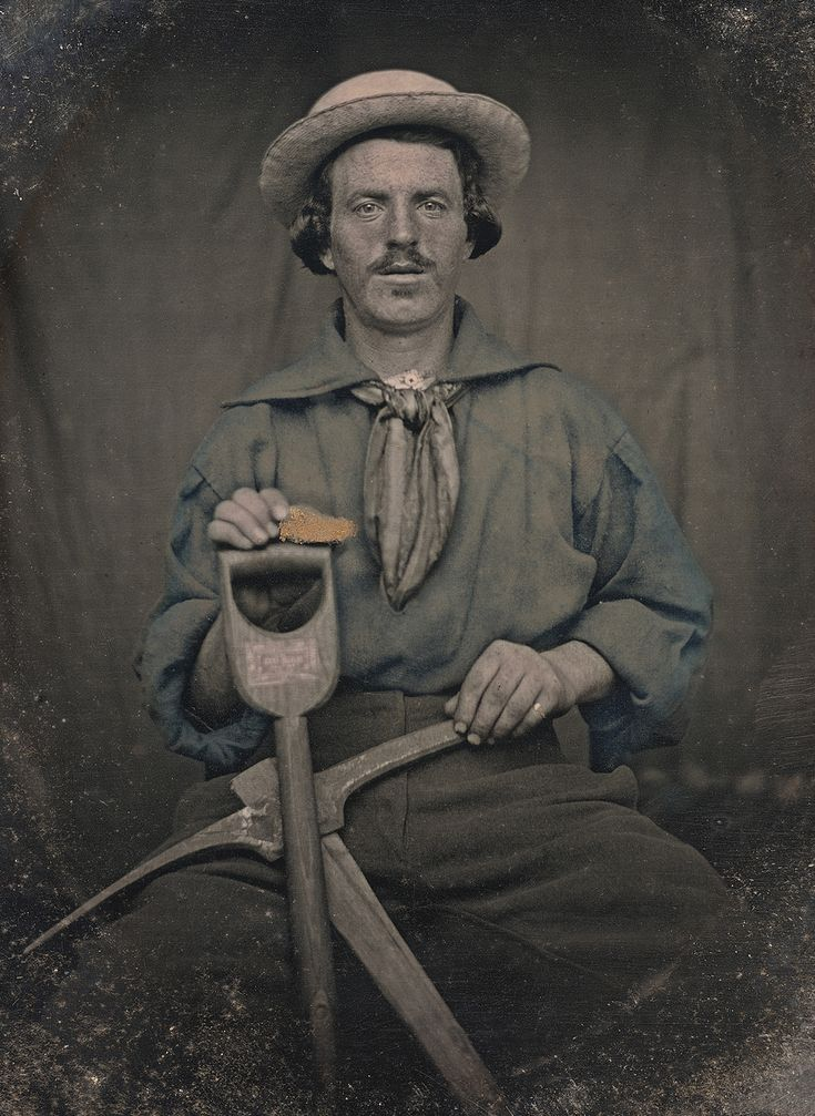 C. 1850 portrait of Daniel J. Butler with gold and mining tools by an unknown photographer (collection of the Canadian Photography Institute. NGC, Ottawa)
