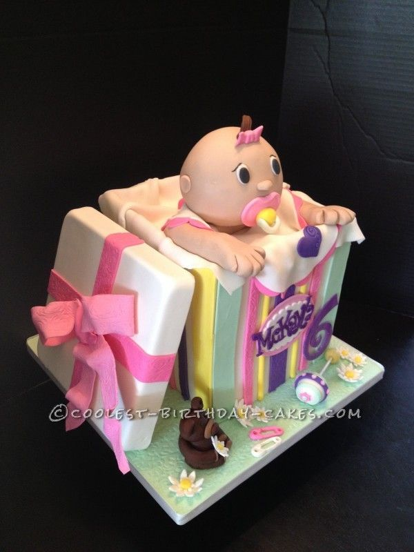 Baby Doll in a Box Cake ... This website is the Pinterest of birthday cakes - great explanation on how to make a box!!!