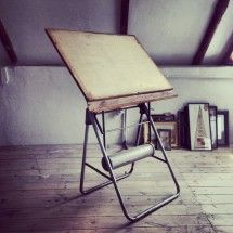 Antique Architect's Drawing Board with Metal Legs - R6800