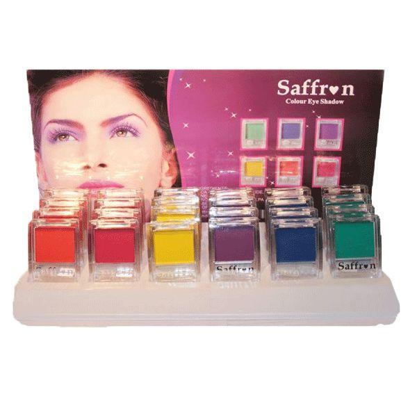 Saffron oogschaduw in neon kleuren. Oogschaduw in fluoriserende felle kleuren.