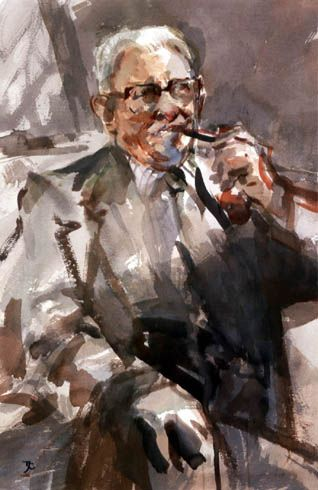 Tom Coates RP watercolour portrait of a man with a pipe