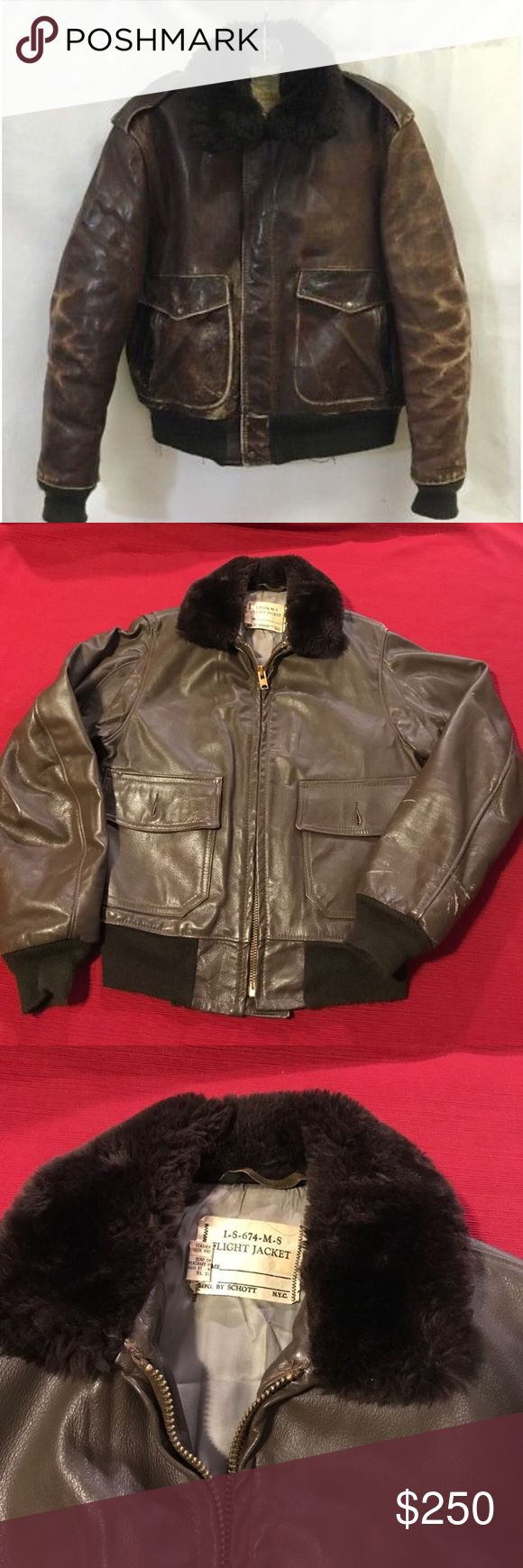 Schott NYC Flight Jacket Bomber Leather Vintage piece! Old school flight jacket. Bought from another posher but doesn't fit me :( see last thee photos for actual Jacket (first photo is for more vintage style). Awesome awesome piece to complete your wardrobe. Made in USA. One of a kind leather bomber. Schott NYC Jackets & Coats