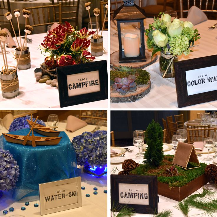 Centerpieces for camp-themed Bat Mitzvah.