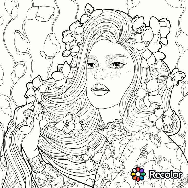 Stunning Girl With Flowers In Her Hair Coloring Page With Hair Coloring Page