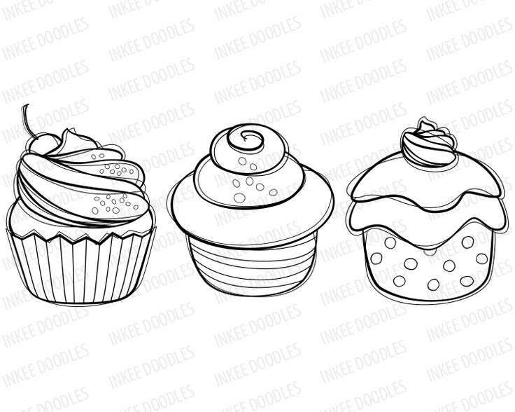 Cupcake Doodles Clip Art - candy cherry sweet chocolate ...